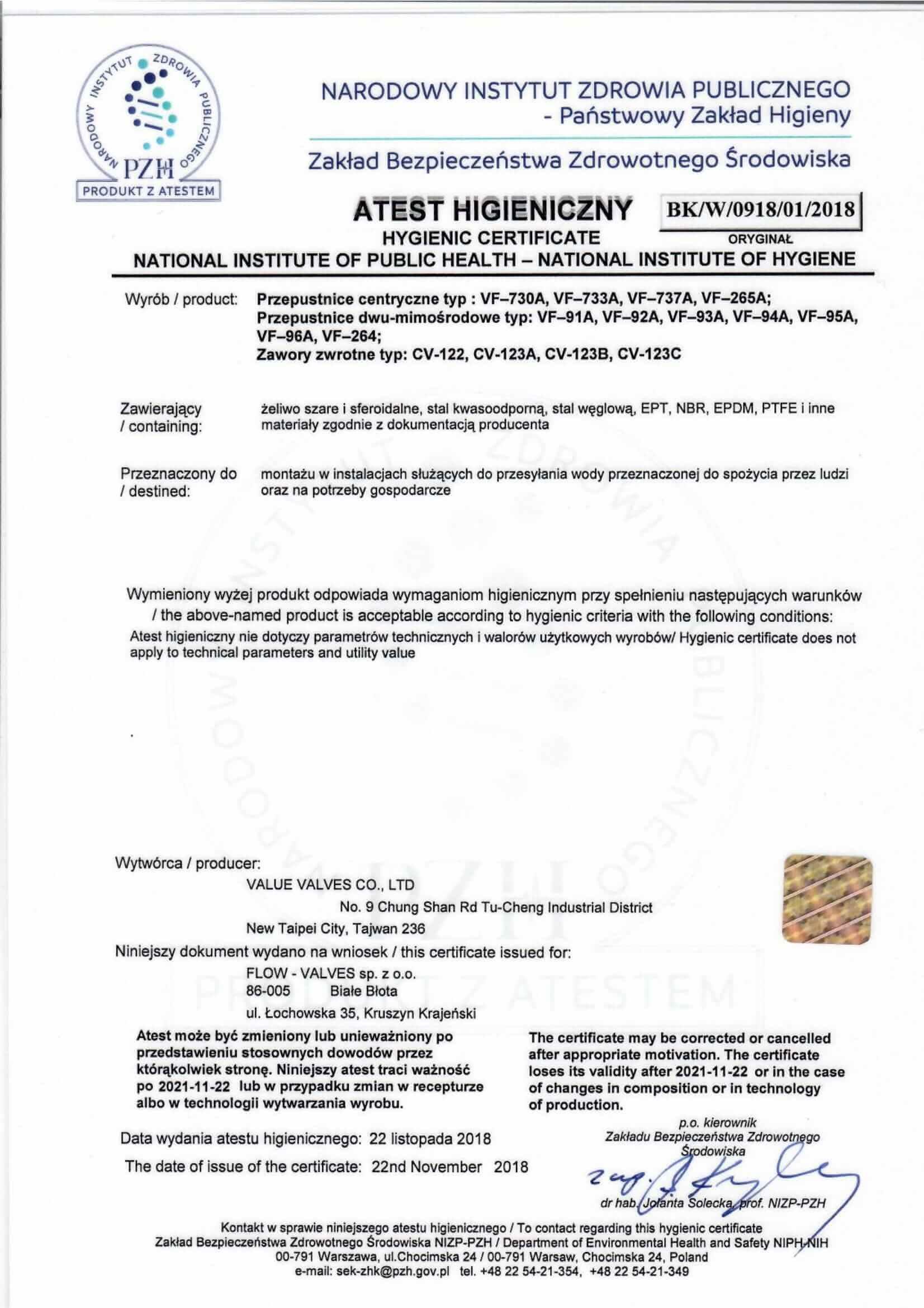 Certyfikat - Atest Higieniczny