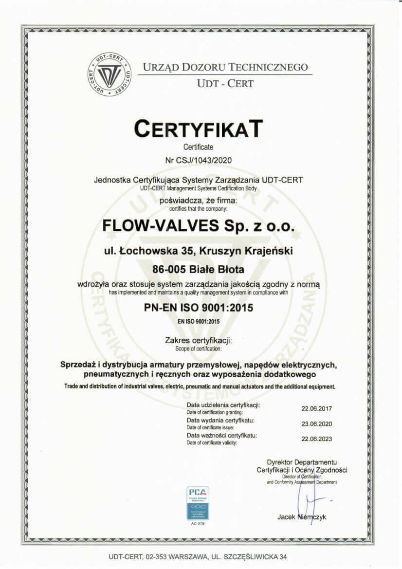 Certyfikat - ISO 9001:2015